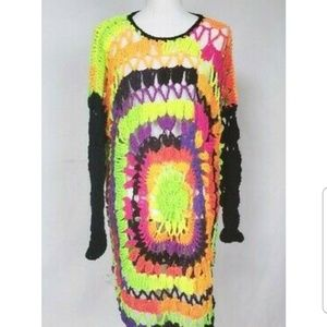 Vintage Handmade Colorful Crochet Sweater One Size